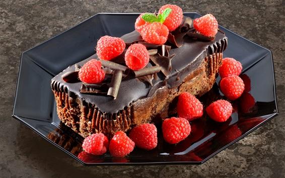 Fond d'écran Gâteau au chocolat, framboise, dessert