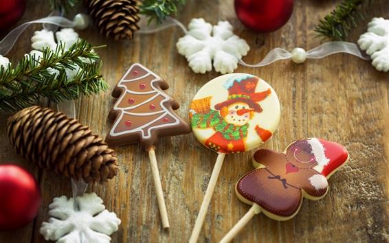 Fond d'écran Noël, bonbons, nourriture, flocons de neige