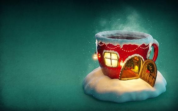 Обои Рождество, чашка дом, снег, огни, творческий картина