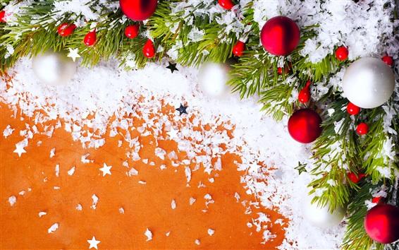 Wallpaper Christmas decoration, New Year, twigs, balls, snow