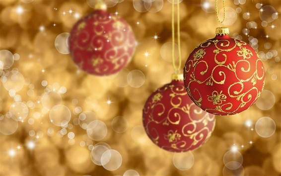 Wallpaper Christmas decoration, red balls, glare background