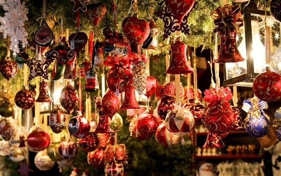 Wallpaper Christmas decoration, toys, balls, shop
