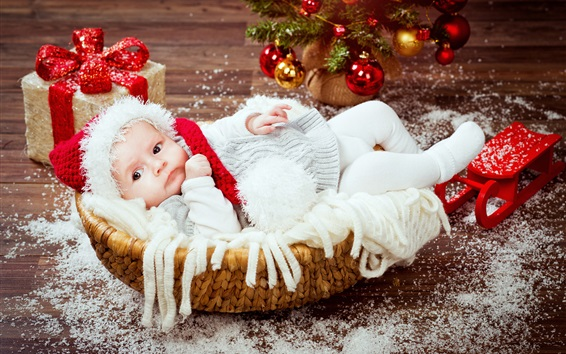 Wallpaper Christmas, gift, cute baby in basket