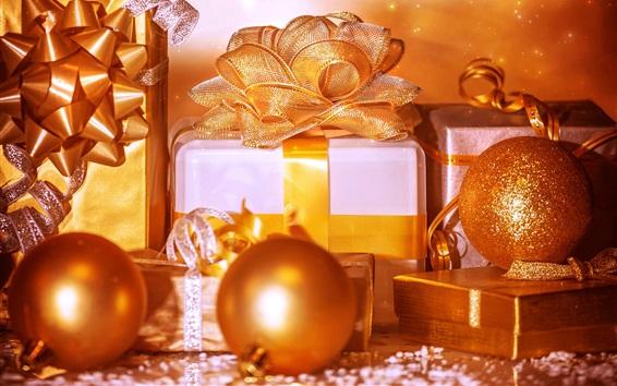 Fond d'écran Noël, cadeaux, boîte, boules, style doré