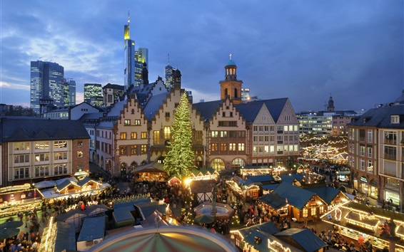 Wallpaper Christmas, houses, night, lights, people, market, Europe