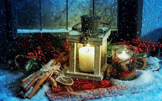 壁紙 クリスマステーマ、ランタン、ろうそく、火、雪