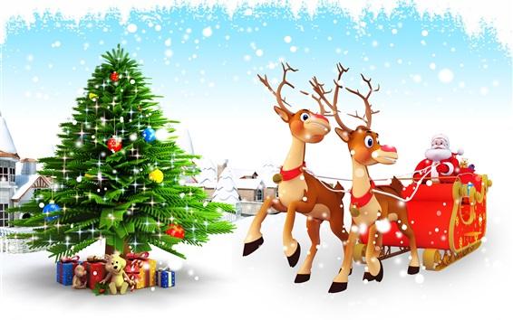 Wallpaper Christmas tree, gifts, toys, snow, Santa Claus, sleigh, deer