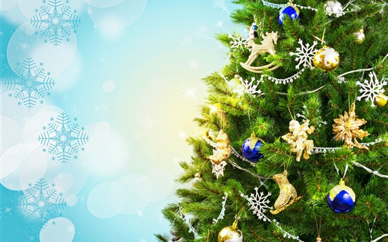 Wallpaper Christmas tree, holiday, decoration, toys, balls, snowflakes