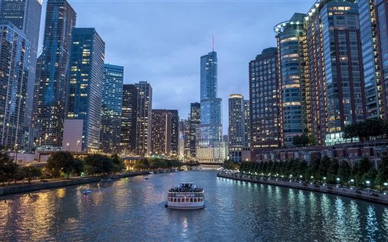Wallpaper City at evening, skyscrapers, lights, river, boat
