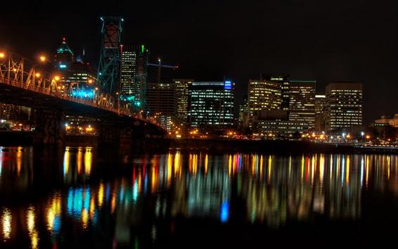Papéis de Parede Cidade, noturna, casas, luzes, rio, ponte, iluminação ...