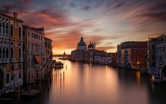 Wallpaper City, houses, Grand canal, evening, red sky, Venice, Italy