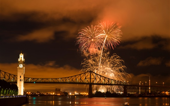 Wallpaper City night, fireworks, river, bridge, lights, Montreal, Canada