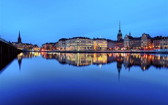 Wallpaper City night, river, water reflection, houses, lights, Stockholm, Sweden