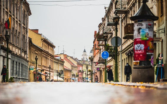 Wallpaper City, street, houses, Lithuania, Kaunas
