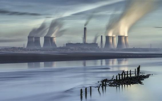 Wallpaper City, thermal power plant, pipe buildings, smoke, river
