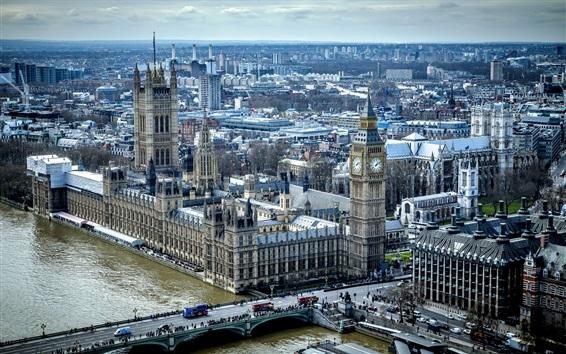 Fondos de pantalla Vista de la ciudad, casas, Big Ben, puente, Támesis, Inglaterra, Londres