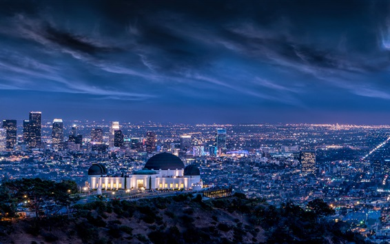 Wallpaper Cityscape, night, storm, lights, Griffith Observatory, Los Angeles, USA