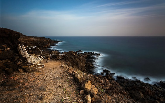 Wallpaper Coast, sea, chairs, stones, dusk