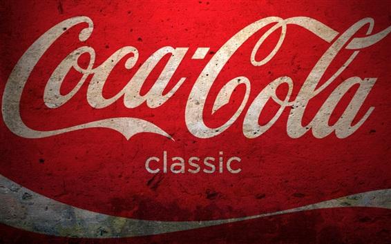 Fond d'écran Logo Coca-Cola, fond rouge