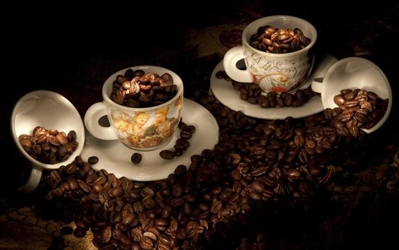 Обои Кофе в зернах, чашки, свет