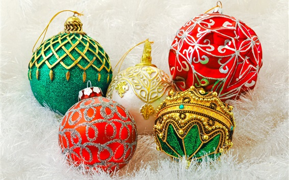 Wallpaper Colorful Christmas balls, decoration, New Year