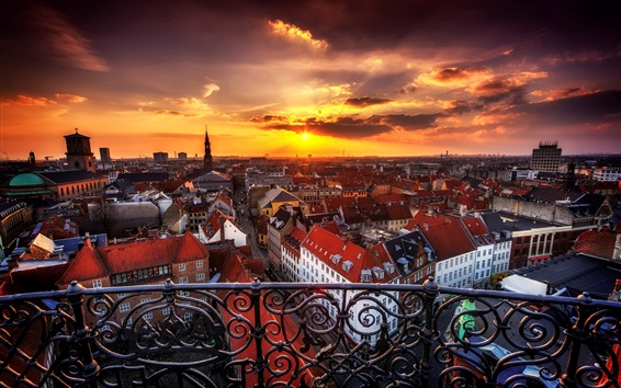 Wallpaper Copenhagen, Denmark, city, buildings, houses, sunset, clouds