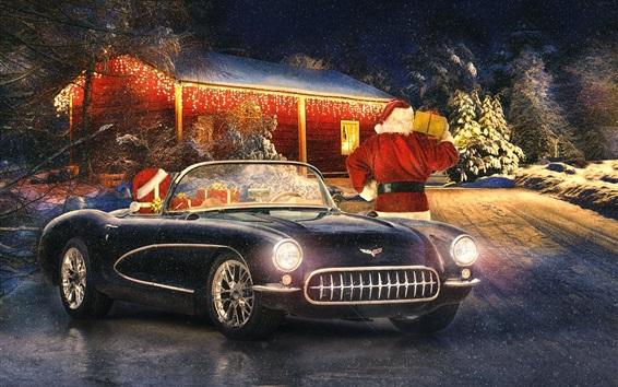 Papéis de Parede Corvette carro clássico, inverno, neve, luzes, Ano Novo, Natal