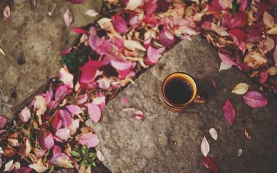 Wallpaper Cup, coffee, leaves