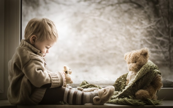 Fond d'écran Mignon, garçon, teddy, ours, fenêtre, côté