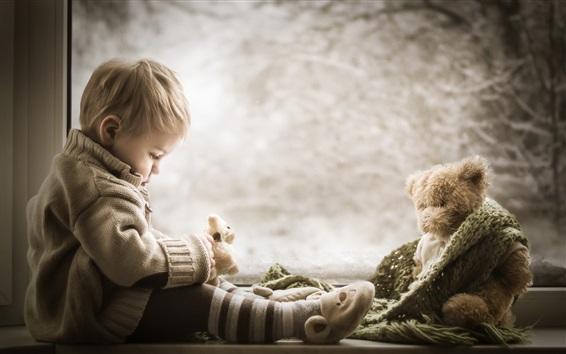 Wallpaper Cute boy and teddy bear at window side
