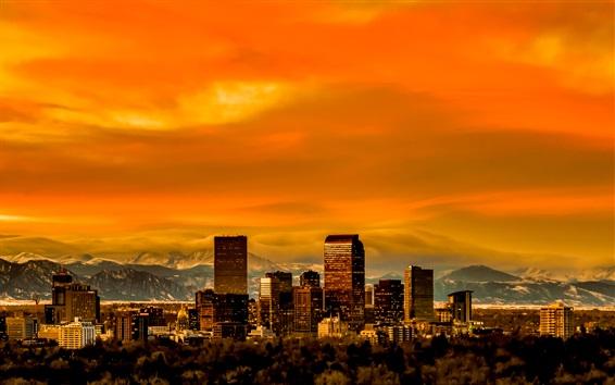 Papéis de Parede Denver, Colorado, EUA, skyline, arranha-céus, crepúsculo