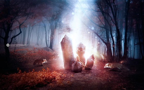 Wallpaper Desktopography creative picture, foxes, magic, crystals, forest