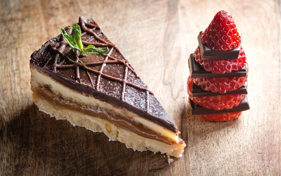 Wallpaper Dessert, cake, chocolate, strawberry