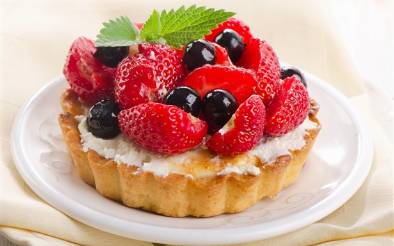 Wallpaper Dessert, cake, strawberries, blueberries, mint