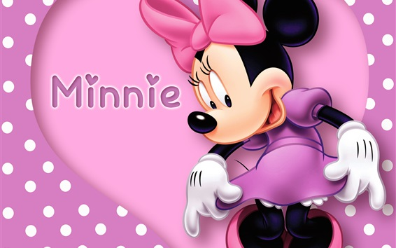 Wallpaper Disney cartoon star, Minnie mouse