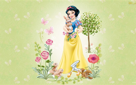 Wallpaper Disney cartoon stars, Snow White, tree, flowers, rabbit