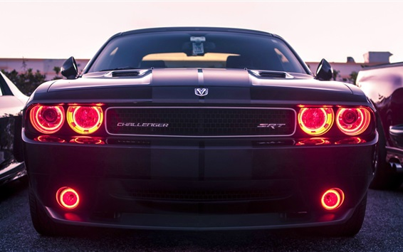 Wallpaper Dodge Challenger SRT8 classic car front view, red eyes