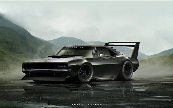 Wallpaper Dodge Charger black classic car