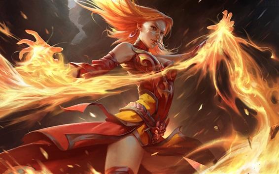 Papéis de Parede Dota 2, magia menina, fogo