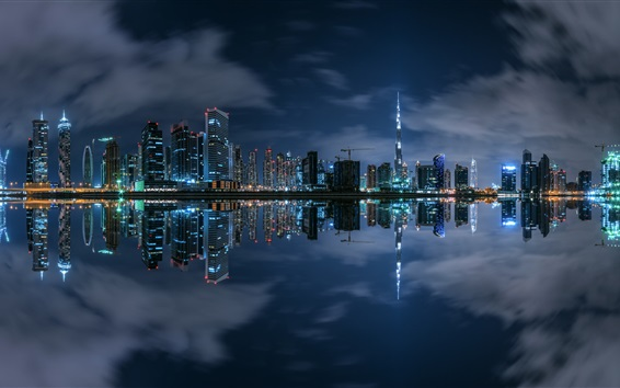Wallpaper Dubai, night, skyscrapers, river, lights, water reflection