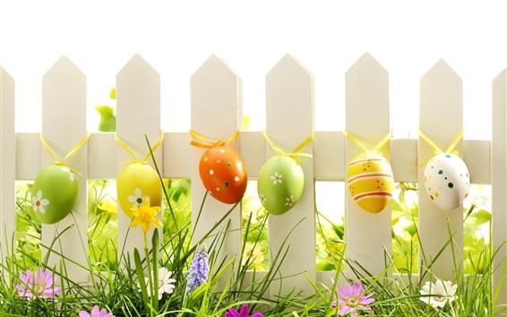 Fondos de pantalla Pascua, huevos, hierba, flores, valla, primavera