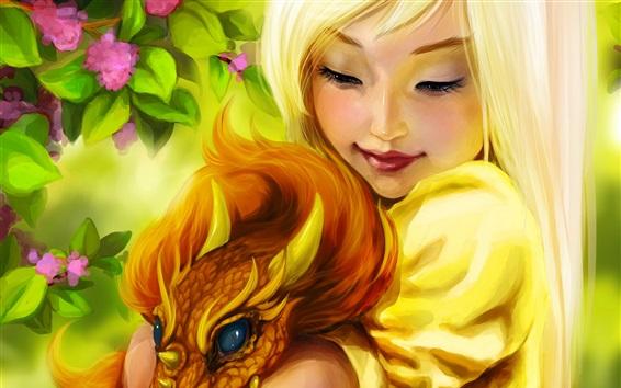 Обои Фэнтези блондинка, дракон, улыбка