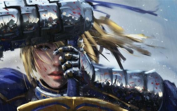 Wallpaper Fantasy girl in rain, sword, warrior