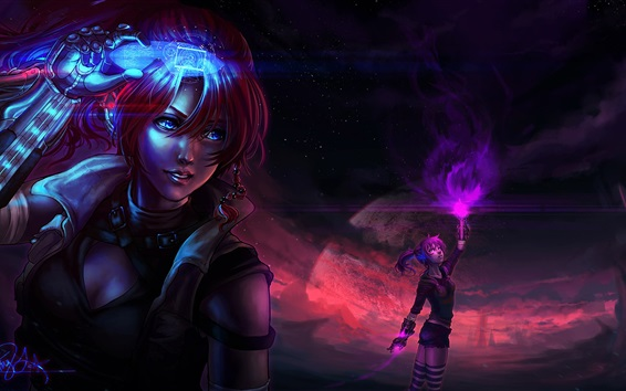 Обои Фэнтези девушка, магия, планета