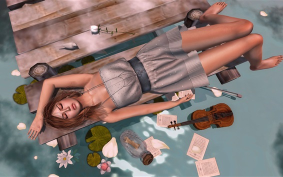 Wallpaper Fantasy girl sleep at lakeside, pier, flowers, violin