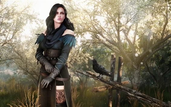 Fond d'écran Fantaisie fille, witcher, corbeau