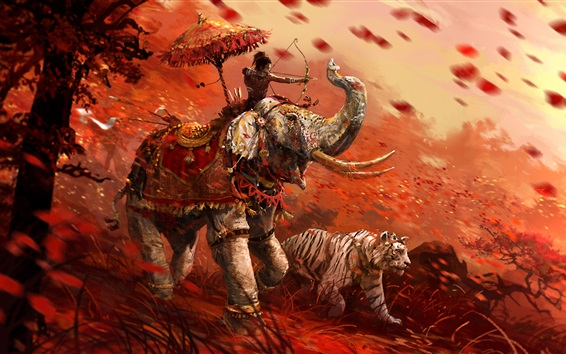 Wallpaper Far Cry 4, tiger, archer, elephant