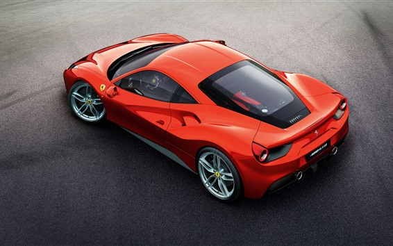 Wallpaper Ferrari 488 GTB red supercar top view