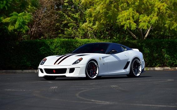 Wallpaper Ferrari 599 white supercar