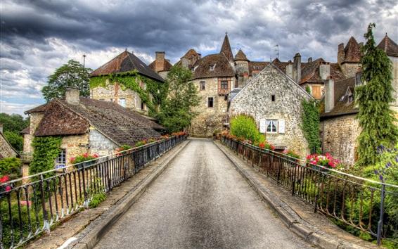 Wallpaper France, Carnac, bridge, road, city, houses, clouds